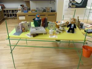 Image of Table with children's merchandise selected by the artist from the Frye Store, from the series Liu Ding's Store