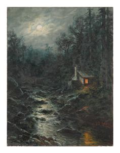 Image of Untitled [Moonlit landscape with river and cabin]