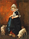 Image of Small Girl with Pigs